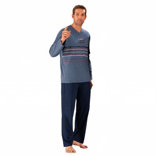 Blancheporte Pyžamo s kalhotami, jemná bavlna modrošedá/nám.modrá