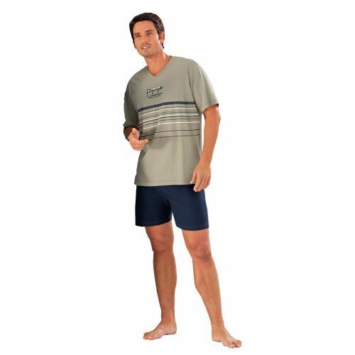 Blancheporte Pyžamo se šortkami, jemná bavlna lipová/nám.modrá