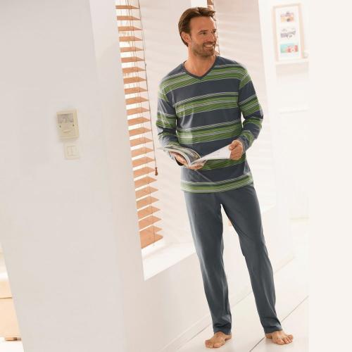 Blancheporte Pyžamo s kalhotami, proužky proužky zelená