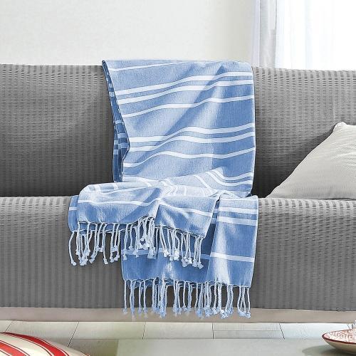 Blancheporte Přehoz s pruhy, bavlna modrá