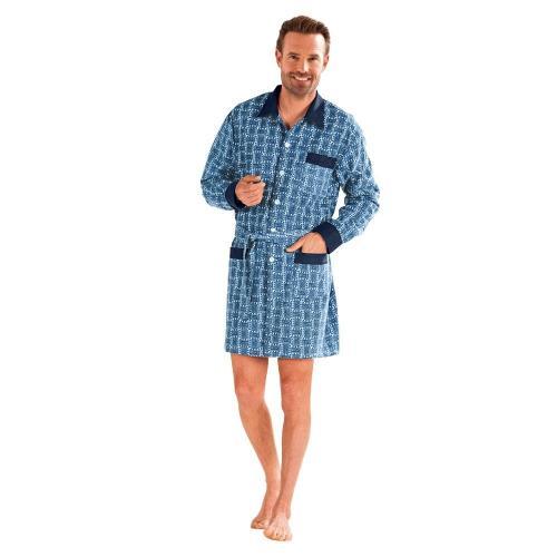 Blancheporte Prodloužený pyžamový kabátek, flanel potisk modrá