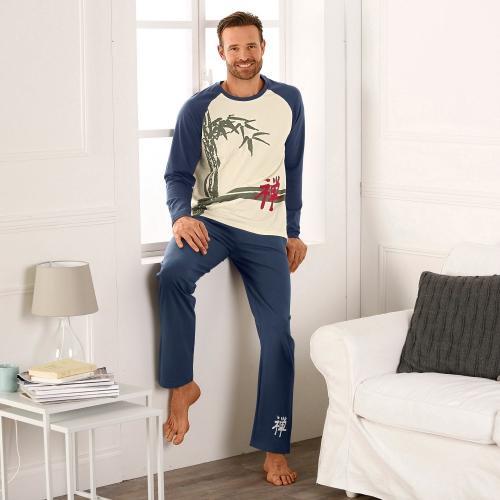 Blancheporte Pyžamo s dlouhými kalhotami, dlouhé rukávy režná/indigo