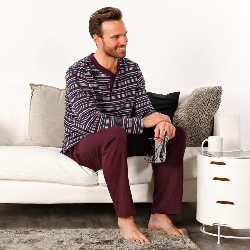 Blancheporte Pyžamo s tuniským výstřihem a dlouhými rukávy, s proužky bordó