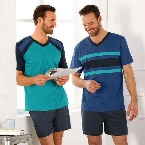 Blancheporte Pyžamo s krátkými šortkami, sada 2 ks modrá/zelená