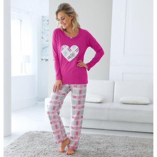 Blancheporte Dámské pyžamo s potiskem srdíček, bavlna a flanel fuchsie potisk srdce
