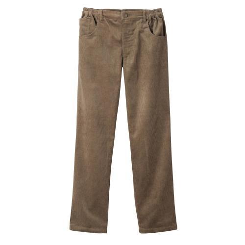 Blancheporte Velurové kalhoty, džínový střih hnědošedá