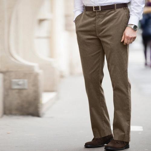Blancheporte Velurové kalhoty, klasický střih hnědošedá
