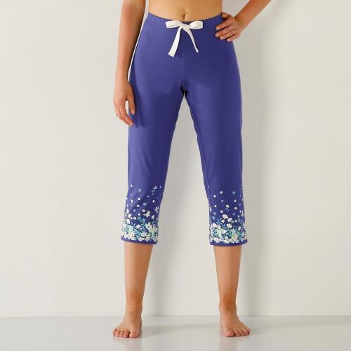 Blancheporte 3/4 pyžamové kalhoty, květinový potisk na okraji nohavice indigo