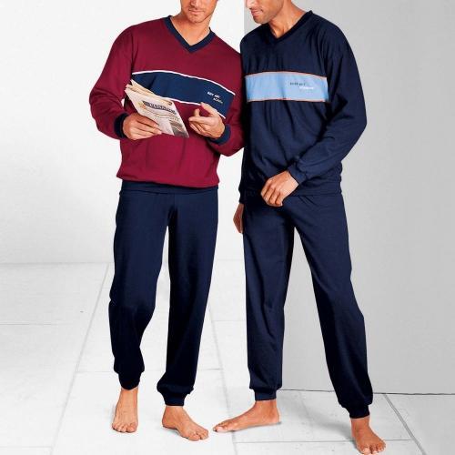 Blancheporte Pyžamo s dlouhými kalhotami, sada 2 ks nám.modrá+bordó