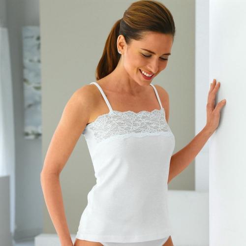 Blancheporte Bavlněná košilka s krajkou bílá