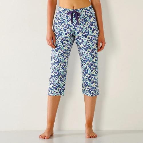 Blancheporte 3/4 pyžamové kalhoty s květinovým potiskem slonová kost