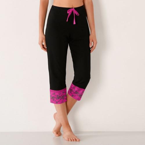 Blancheporte 3/4 kalhoty s kašmírovým lemem, bavlněný úplet černá