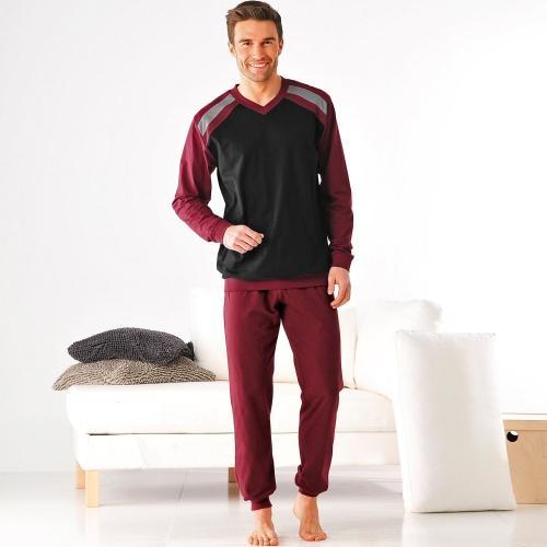 Blancheporte Pyžamo s dlouhými kalhotami, sada 2 ks bordó+šedá