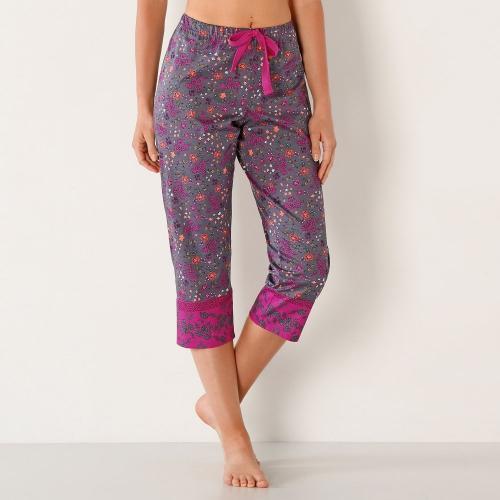 Blancheporte 3/4 pyžamové kalhoty s kašmírovým potiskem hnědošedá/fuchsie potisk