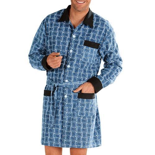 Blancheporte Prodloužený pyžamový kabátek, polycoton potisk modrá