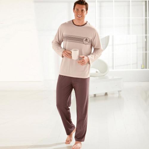 Blancheporte Pyžamo s kalhotami, bavlněný žerzej hnědošedá/béžová