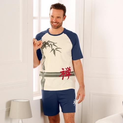 Blancheporte Pyžamo se šortkami, krátké rukávy režná/indigo