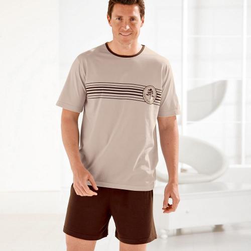 Blancheporte Pyžamo se šortkami, bavlněný žerzej hnědošedá/béžová