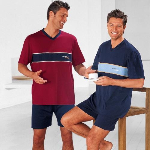 Blancheporte Pyžamo se šortkami, sada 2 ks nám.modrá+bordó