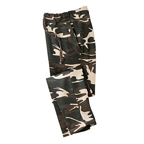 Blancheporte Meltonové kalhoty, rovný spodní lem khaki vojenský vzor