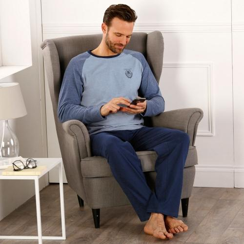 Blancheporte Dvoubarevné pyžamo s dlouhými rukávy modrý melír