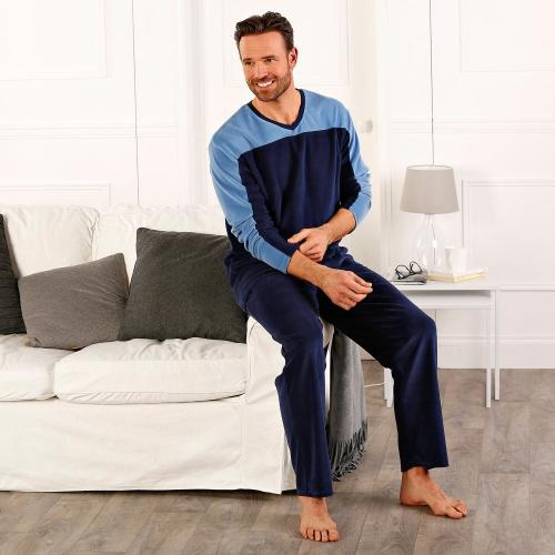 Blancheporte Jednobarevné sametové pyžamo s dlouhými rukávy modrá