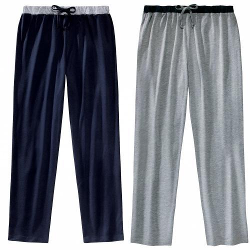 Blancheporte Domácí kalhoty, sada 2 ks nám.modrá+šedý melír