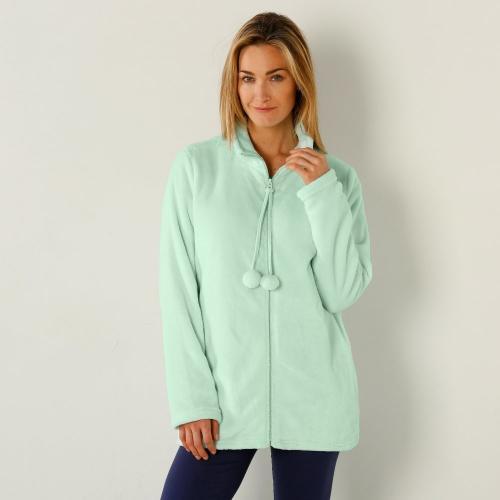 Blancheporte Fleecová bunda na zip světle zelená