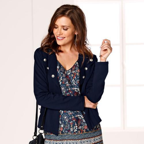 Blancheporte Krátké úpletové sako temně modrá