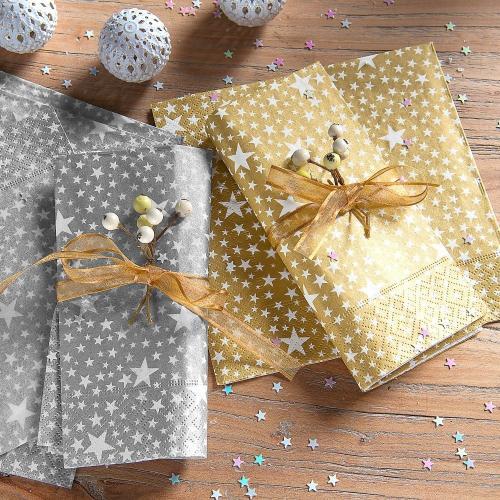 Blancheporte Sada 20 papírových ubrousků s hvězdičkami, výběr ze 2 barev zlatá