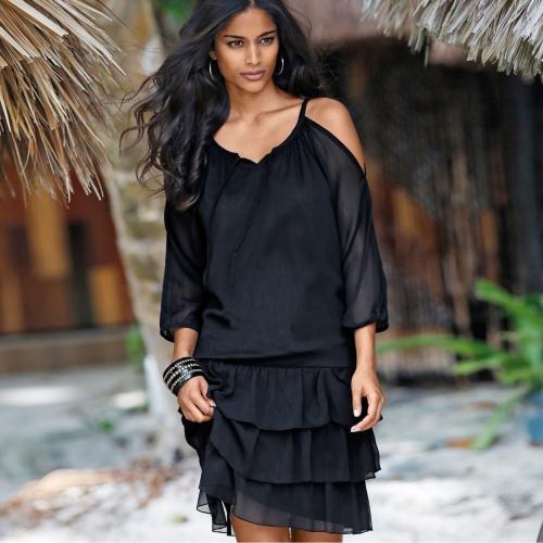 Blancheporte Voálové šaty, jednobarevné černá