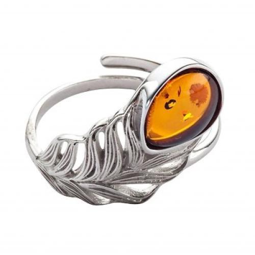 Blancheporte Nastavitelný prsten s motivem lístku, jantar a stříbro