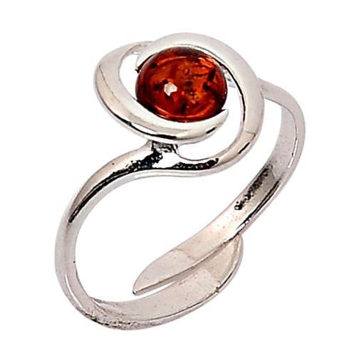 Blancheporte Nastavitelný stříbrný prsten s jantarovým kamínkem