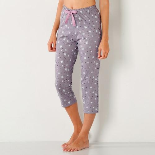 Blancheporte 3/4 pyžamové kalhoty s potiskem vloček potisk šedá lila