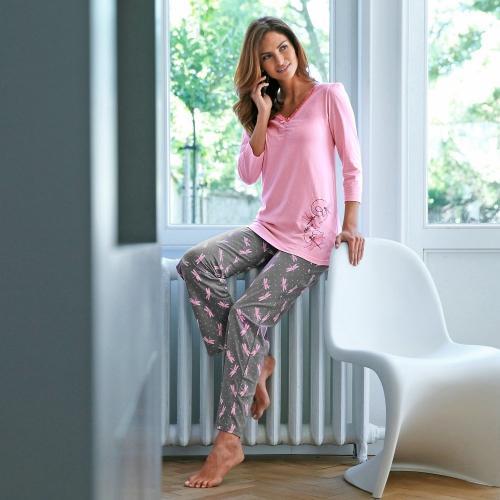 Blancheporte Bavlněné pyžamo se 3/4 rukávy potisk vážka