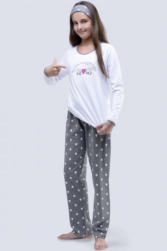Dívčí pyžamo Meow bílé 140/146  bílá