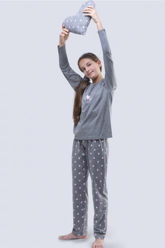 Dívčí pyžamo Meow šedé 140/146  šedá