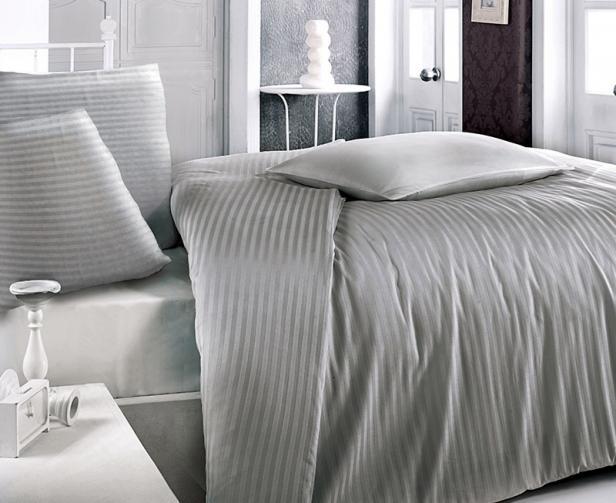 Atlasové povlečení šedé Jednolůžko - standard, přikrývka: 1ks 140x200 cm, polštář: 1ks 90x70 cm Bavlněný satén