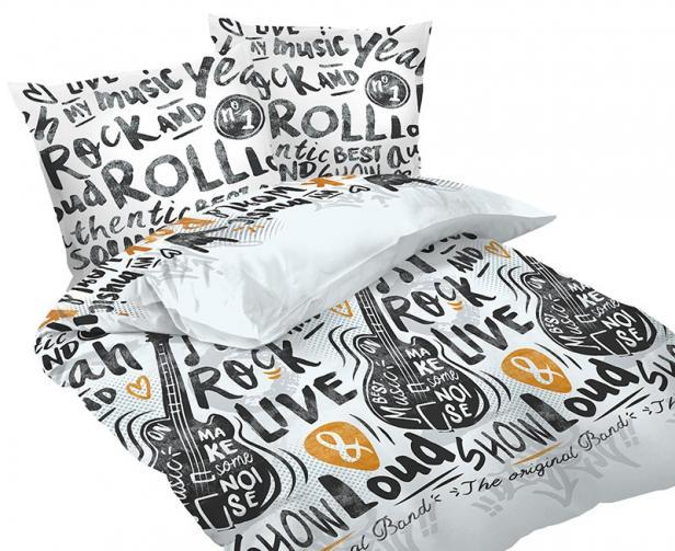 Povlečení Rock´N´Roll Jednolůžko - standard, přikrývka: 1ks 140x200 cm, polštář: 1ks 90x70 cm, gramáž: 118 g/m2 Bavlna