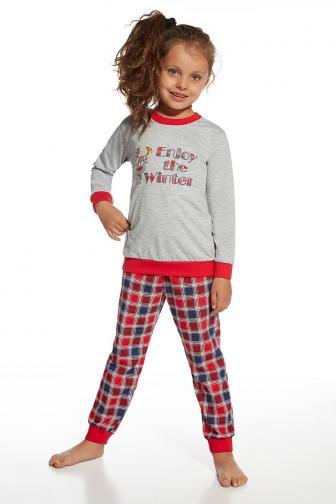 Dívčí pyžamo Winter 110/116 šedočervená