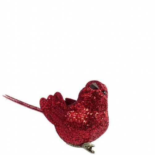 BIRDY Ptáček s třpytkami a klipem - červená
