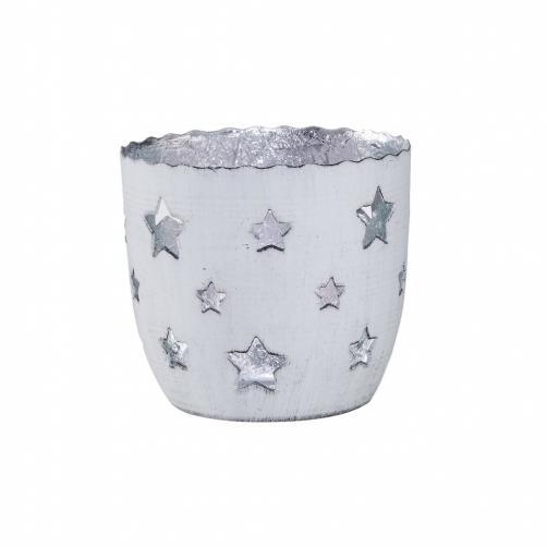 DELIGHT Svícen na čajovou svíčku hvězdy malý - bílá/stříbrná