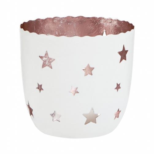 DELIGHT Svícen na čajovou svíčku hvězdy velký - bílá/stříbrn