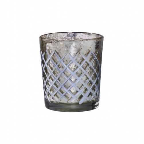 DELIGHT Svícen na čajovou svíčku diamantové broušení malý
