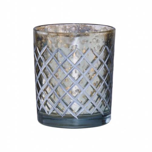 DELIGHT Svícen na čajovou svíčku diamantové broušení velký