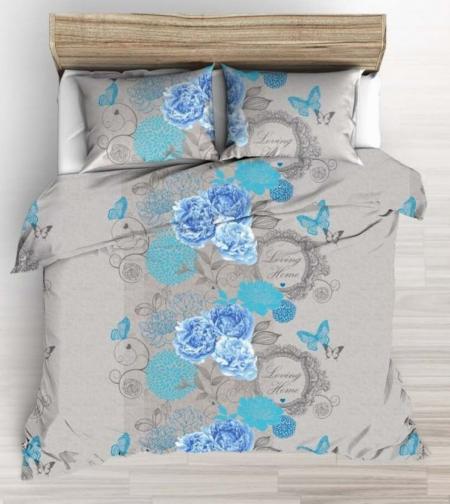 Forbyt, Povlečení bavlněné, Home blue, 140 x 200/70 x 90 cm 140 x 200 cm + 70 x 90 cm