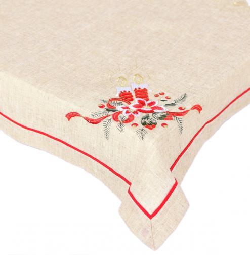 Forbyt, Ubrus vánoční, Červené svíce, režný 85 x 85 cm