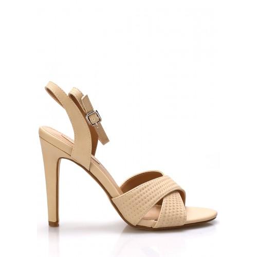 Trendy too Béžové sandály na podpatku Trendy too