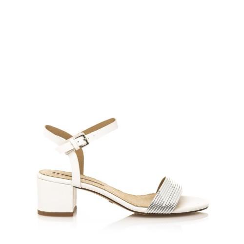 MARIA MARE Bílé sandály na širokém nízkém podpatku Maria Mare