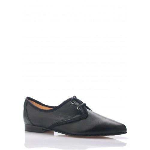 Maria Jaén Černé kožené boty se špičkou Maria Jaén